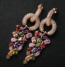 18k Gold Earrings made w/ Swarovski Crystal Multicolor Marquise Stone Gorgeous