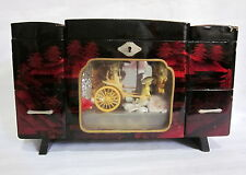 VINTAGE JAPANESE ANIMATED MUSIC JEWERLY BOX  MAN PULING RICKSHAW