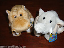 Webkinz Mud Hippo & Velvety Elephant Full Size Unused Codes Plush Stuffed Animal