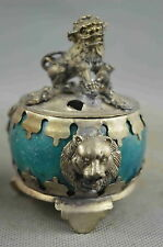 Collectible Old Agate Armor Miao Silver Carve Might Lion Ancient Exorcism Statue