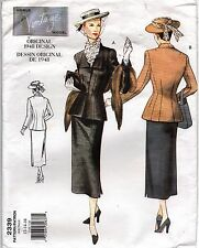 Vogue Sewing Pattern 2339 Jacket & A-Lined Skirt Retro 1940's SZ 12-14-16 Uncut