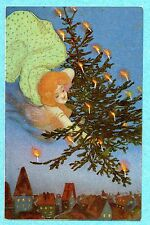 A0954 Kirchner postcard of Woman flying with Christmas Tree