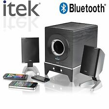 ITEK 2.1 MULTIMEDIA BLUETOOTH SPEAKER SYSTEM IPAD IPHONE SAMSUNG GALAXY # 58012