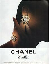 ▬► PUBLICITE ADVERTISING AD Boucle d'oreilles CHANEL Joaillerie jewel Bijou 1985