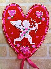 VALENTINE'S DAY SIGN Heart Cupid Plaque Door Wall Hanging Hanger Seasonal Decor