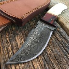 "NEW! 8"" Damascus Steel Hunting Skinning Knife w/ Bone & Cherrywood Handle -T"