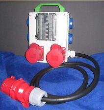 Stromverteiler Adapter 32A auf 2x CEE 16A und 5x Schuko kleines Gehäuse