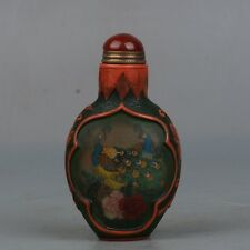 Chinese Exquisite hand-carved  peacock and Lotus pattern Glass snuff bottle