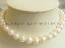 """Charming  10-11MM White Akoya Pearl Necklace 18""""14K Solid Gold Clasp"""