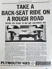 1934  Plymouth Car Take Back Seat Ride on Rough Road Original Ad