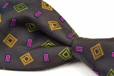 NWT - ETRO Olive Brown Logo E Geometric Silk Twill Mens Tie - 3.875""