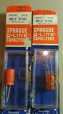 2 NOS Sprague Q Line 100UF 50 VDC Capacitors