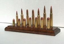 Deluxe Bullet Displays, real bullets, no powder, mounted on a finished wood base
