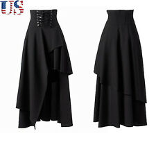 US Hot Women Gothic Lolita Bandage Long Skirt Women Black Dress Party Cosplay XL
