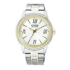 Ladies Citizen Eco-Drive Two-Tone Swarovski Crysal Large Face Watch FE7004-57A