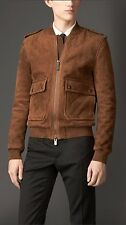 Burberry London Brown Quilted Suede Blouson Jacket Size:56/46 $4995 NWT ITALY