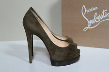 New Christian Louboutin Palais Royal Brown Suede Platform Pump Shoes sz 7 / 37