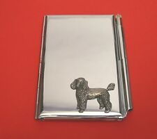 Poodle Dog Motif on Chrome Notebook / Card Holder & Pen Christmas Gift