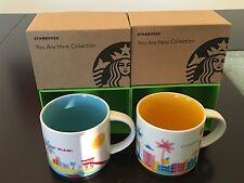 LOT OF 2: 1 Miami+ 1 Florida You Are Here (YAH) 14 Oz. Starbucks Mugs