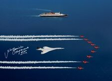 CONCORDE FLYING WITH RED ARROWS & QEII 1988 16X12 SIGNED PHOTOGRAPH QE2 £45 NEW