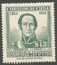 Chile Scott# QRA1, President J.J. Prieto V. 15p Green, Used but Uncancelled 1957