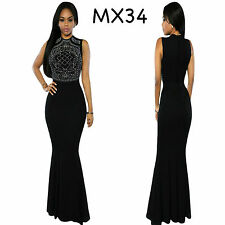 Sz 10 12 Sleeveless Black Formal Cocktail Party Wedding Gown Evening Long Dress