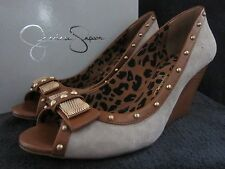 JESSICA SIMPSON Neeson Grey Kid Suede Open Toe Wedge Heels Shoes US 8.5 M NWB