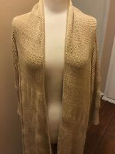 Ralph Lauren Open Front Waterfall sweater Coat One Size Beige w/Metallic thread