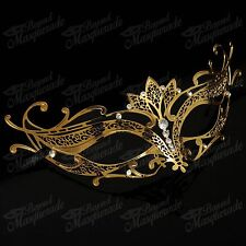 Womens Majestic Lotus Laser-Cut Filigree Metal Venetian Masquerade Mask [Gold]