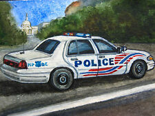 Original Painting AMERICAN POLICE CAR FORD CROWN VICTORIA FLASH LIGHTS ACEO Art