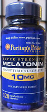 Puritan's Pride SUPER STRENGTH Melatonin 10 mg 120 Caps, Sleep Aid + Bonus