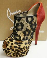 Christian Louboutin Aeronotoc 160 Pony Leopard Lace Booties Shoes 38.5 $2395