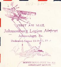 Airport Dedication Johnsonburg PA 8.16.1933 ONLY 315 FLOWN Air Mail Cover «