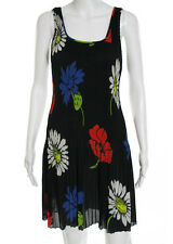 VIVIENNE TAM Multi Colored Floral Print Pleated Sleeveless Bodycon Dress Sz 2