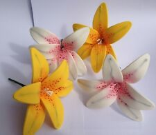 4 edible LILY LILIES cake decorations CUPCAKE TOPPER wedding BIRTHDAY tiger star
