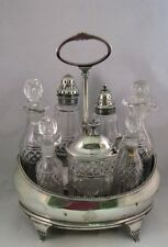 Antique George III silver cruet set cut glass bottles 1806 Henry Nutting English