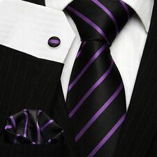 UK Men's Club School Necktie Black & Purple Thin Striped Silk Tie Set 1128