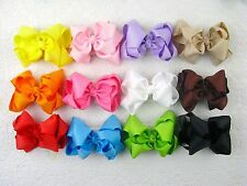 """New 12pc 4"""" Boutique Hair Bows clips Girls Baby  without crochet headbands"""