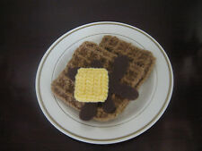 2 Handmade Crochet WAFFLES pretend PLAY FOOD amigurumi FUN TOY Kitchen any age