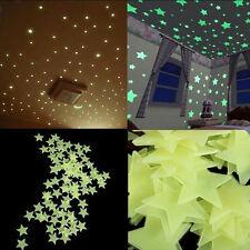 100pack Luminous tars Fluorescent Stickers 3D Glow In The Dark Wall Stick  7SQ