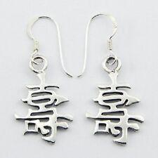 Silver earrings Chinese symbol longevity 925 sterling drop 41mm ht  feng shui