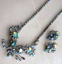 Sherman Gorgeous Classy Metallic Blue AB Crystal Necklace & Earrings Set, SIGNED