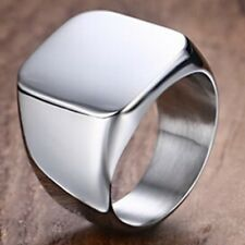 Stainless Steel Titanium Signet Ring Plain Classical Stylish Square Band Ring