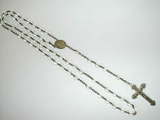 VINTAGE SILVERTONE CRUSIFIX CLEAR CRYSTAL ROSARY BEADS