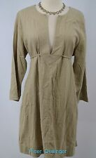 Mimi Maternity khaki linen dress chic Basic essential tie back waist SIZE L NEW