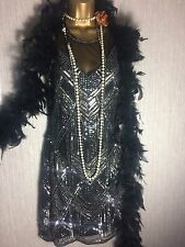 Miss Selfridge Flapper Beaded Sequin Gatsby Party Prom Dress Vintage 10