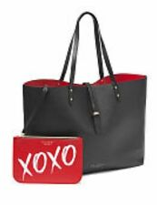 NWT VICTORIA'S SECRET LEATHER LARGE TOTE & MAKEUP BAG BLACK RED VALENTINE XOXO