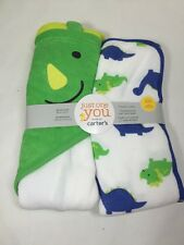Baby Bath Towel 2 Piece Set Carter's Just One You Towel  Dinosaur Pattern New