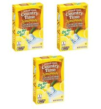 3 Country Time Lemonade On the Go Powder Water Drink Mix Sugar Free (18 Packets)