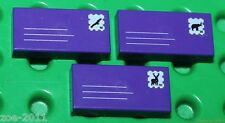 Lego 3 x Purple Tile 1x2 Custom Printed Letters Design NEW